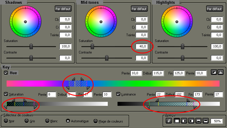 Settings for secondary color correction